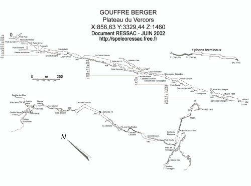 Topographie du Gouffre Berger, jusqu'au Siphon 1